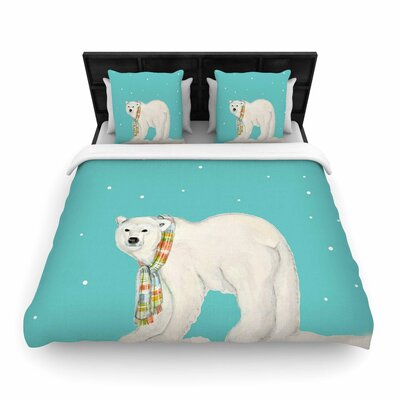 Jennifer Rizzo Chilly Snow Bear Woven Duvet Cover Size: King