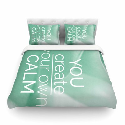 Tiny September You Create Your Own Calm Photography Featherweight Duvet Cover Size: Twin
