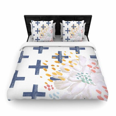 Jennifer Rizzo Bright and Pretty Floral Woven Duvet Cover Size: Twin, Color: Navy