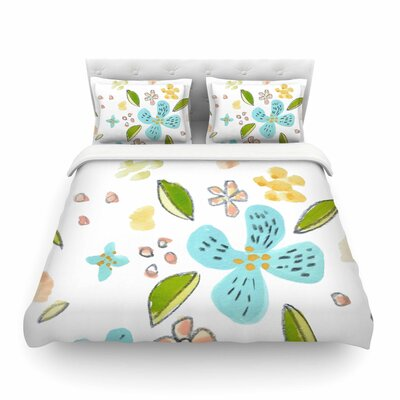 Jennifer Rizzo Happy Flower Dance Floral Featherweight Duvet Cover Size: King