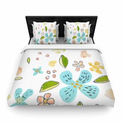 Jennifer Rizzo Happy Flower Dance Floral Woven Duvet Cover Size: Full/Queen