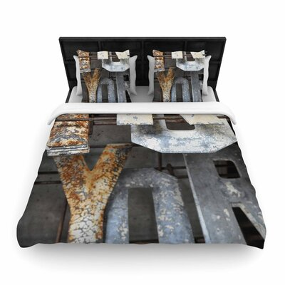 Jennifer Rizzo Patina Letters Woven Duvet Cover Size: Full/Queen