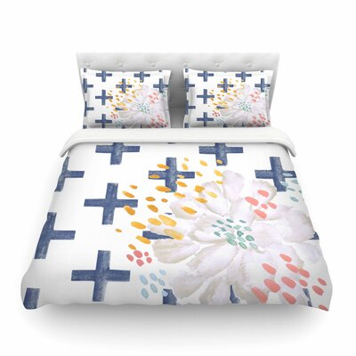Jennifer Rizzo Bright and Pretty Floral Featherweight Duvet Cover Color: Navy, Size: King