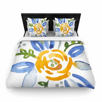 Jennifer Rizzo Buttercup Floral Woven Duvet Cover Size: Full/Queen