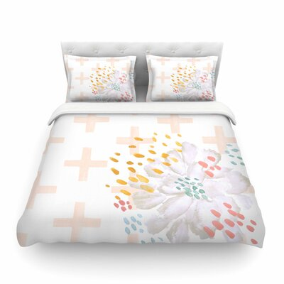 Jennifer Rizzo Bright and Pretty Floral Featherweight Duvet Cover Size: King, Color: Pink