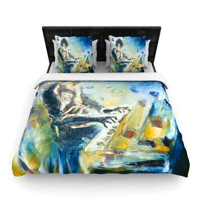 Josh Serafin Riders on the Storm Piano Player Woven Duvet Cover Size: King