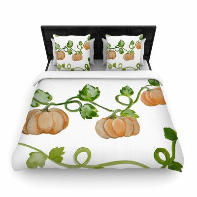 Jennifer Rizzo Trio of Fall Pumpkins Painting Woven Duvet Cover Size: Twin