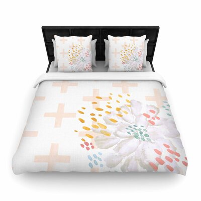 Jennifer Rizzo Bright and Pretty Floral Woven Duvet Cover Size: Full/Queen, Color: Pink