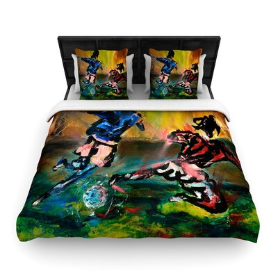 Josh Serafin Slidetackle Soccer Woven Duvet Cover Size: Full/Queen