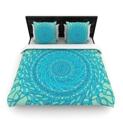 Patternmuse Mandala Spin Woven Duvet Cover Color: Green/Blue, Size: Twin
