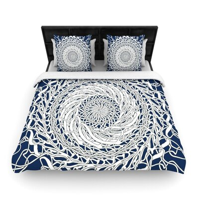 Patternmuse Mandala Spin Woven Duvet Cover Color: Blue/White, Size: Full/Queen