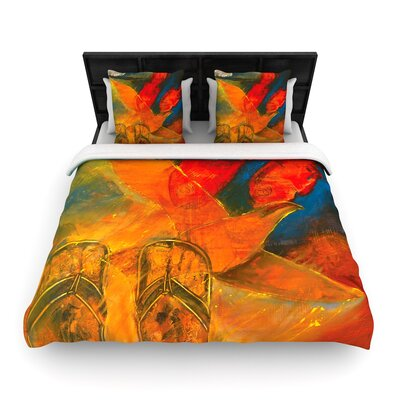 Josh Serafin Whats Beneath My Feet Fish Seagull Woven Duvet Cover Size: Twin