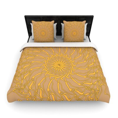 Patternmuse Mandala Spin Latte Woven Duvet Cover Size: Full/Queen