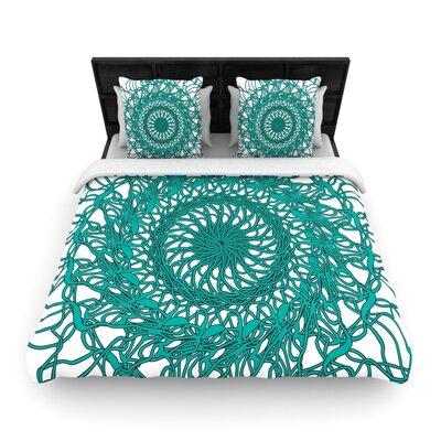 Patternmuse Mandala Spin Jade Woven Duvet Cover