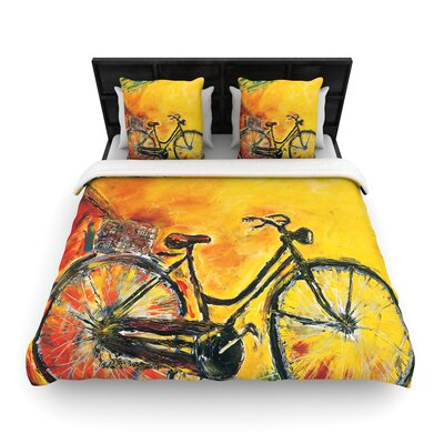 Josh Serafin to Go Bicycle Woven Duvet Cover Size: Full/Queen
