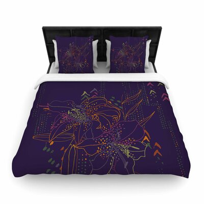 Karina Edde Hibiscus Abstract Woven Duvet Cover Size: King