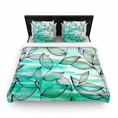 Jessica Wilde Tropical Leaf Garden Nature Woven Duvet Cover Size: Twin