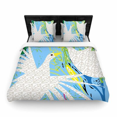 Pattern Muse Pond Birds Woven Duvet Cover Size: Full/Queen