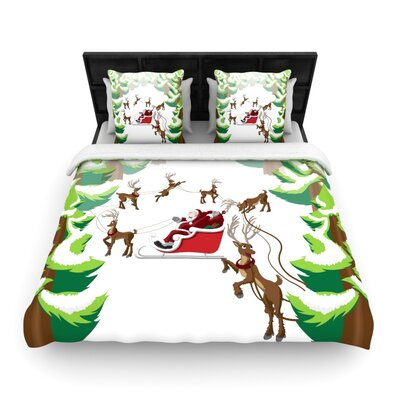 Forest Sleigh Scene Holiday Illustration Woven Duvet Cover Size: King