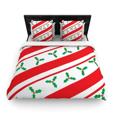 Holiday Holly Christmas Holiday Woven Duvet Cover Size: Twin