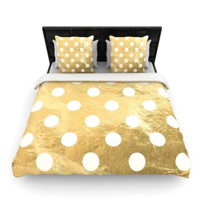 Scatte Woven Duvet Cover Color: Gold, Size: King