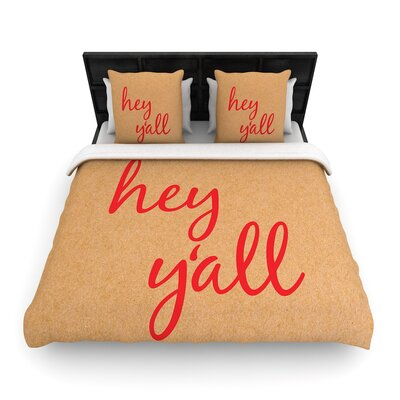 Hey Yall - Woven Duvet Cover Size: Twin, Color: Red
