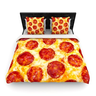 Pizza My Heart Pepperoni Cheese Woven Duvet Cover Size: Full/Queen