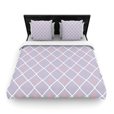 Web Lavendar Woven Duvet Cover Size: Full/Queen
