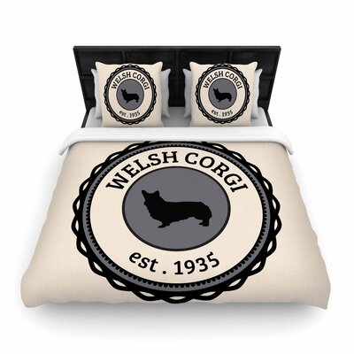 Welsh Corgi Dog Woven Duvet Cover Size: Twin