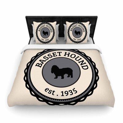 Basset Hound Dog Typography Woven Duvet Cover