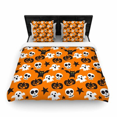 Spooktacular Halloween Pattern Woven Duvet Cover Size: Full/Queen
