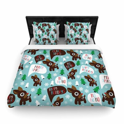 Cheerful Reindeer Woven Duvet Cover Size: Full/Queen