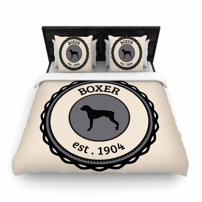 Boxer Dogs Woven Duvet Cover Size: Full/Queen