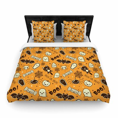 All Cute Halloween Pattern Woven Duvet Cover Size: Full/Queen