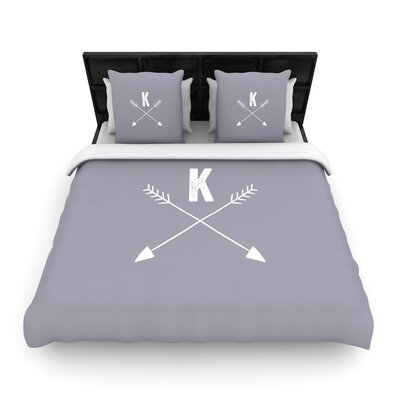 Arrow Monogram Woven Duvet Cover Size: Full/Queen
