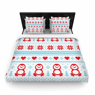 Pixel Penguin Holiday Christmas Pattern Woven Duvet Cover Size: Full/Queen