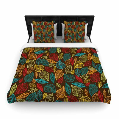 Leaves All Around Woven Duvet Cover Size: Twin
