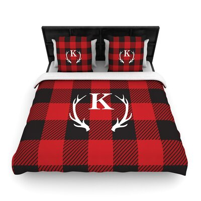 Plaid Monogram Woven Duvet Cover Size: King