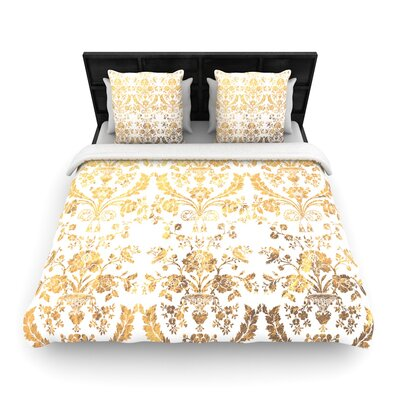 Baroque Abstract Floral Woven Duvet Cover Color: Gold, Size: Twin