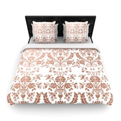 Baroque Abstract Floral Woven Duvet Cover Color: Rose Gold, Size: Full/Queen