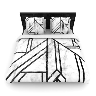 Marble Mosaic Geometric Modern Woven Duvet Cover Size: Full/Queen
