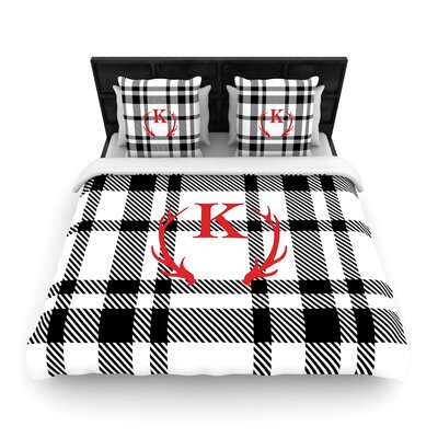 Plaid Monogram Woven Duvet Cover Size: Twin