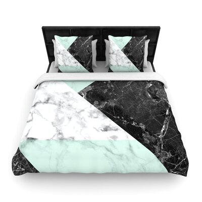 Geo Marble Geometric Woven Duvet Cover Color: Mint, Size: Twin