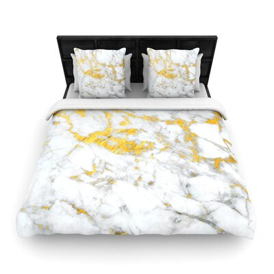 Flake Marble Metal Woven Duvet Cover Size: Twin