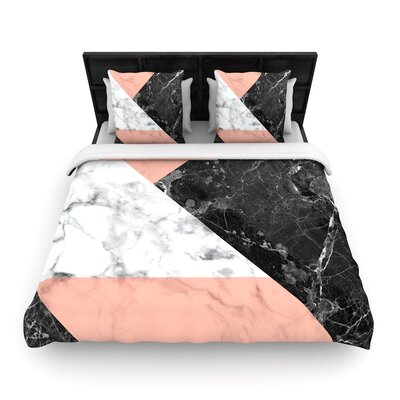 Geo Marble Geometric Woven Duvet Cover Color: Coral, Size: Full/Queen
