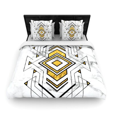 Geo Marble Graphic Tribal Woven Duvet Cover Size: Full/Queen