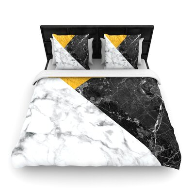 Geo Marble Geometric Woven Duvet Cover Color: Gold, Size: King