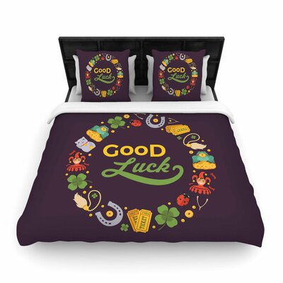 Good Luck! Woven Duvet Cover Size: Full/Queen