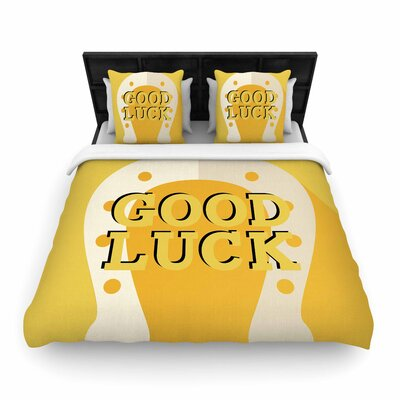 Lucky Horseshoe Typography Woven Duvet Cover Size: Twin