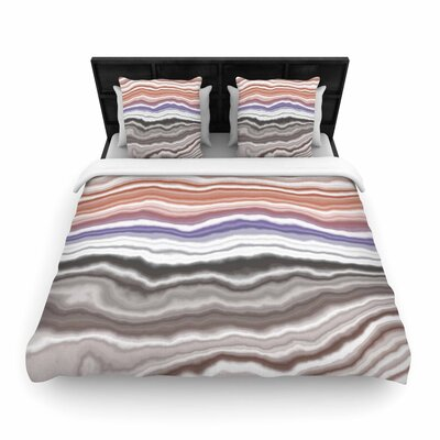 Iris Lake Bed Geological Abstract Woven Duvet Cover Size: Twin